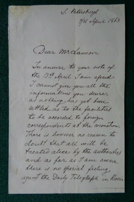 Antique Signed Letter Count Shuvalov Daily Telegraph Coronation Tsar Alexander